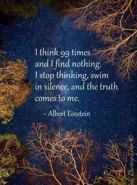 KNOWLEDGE QUOTE: I stop thinking, swim in silence, and the